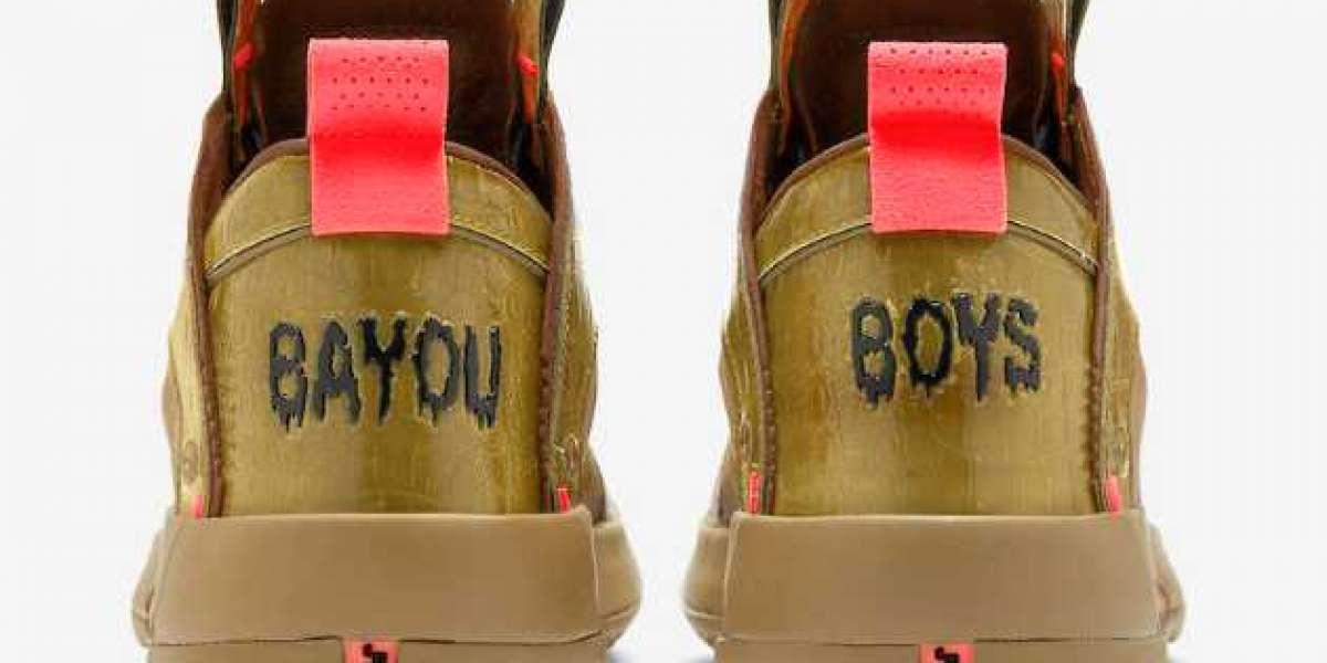 "Air Jordan 34 ""Bayou Boys"" PE DA1897-300 Brown Kelp/Bright Crimson 2020 For Sale Online"